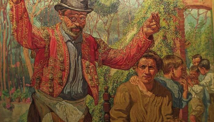 <p><em>Un borratxo</em>, Josep de Togores i Llach, 1910-1911, Cerdanyola del Vall&egrave;s, oli sobre tela</p>