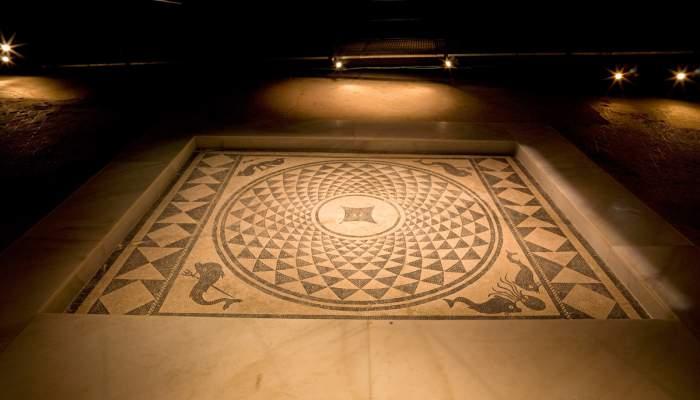 <p>Mosaic in the <em>impluvium</em> in the Casa dels Dofins</p>