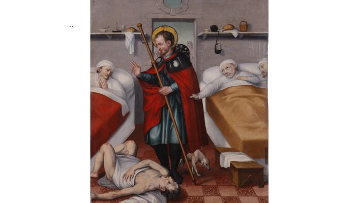 <p>Retaule de Sant Roc. <em>Sant Roc visitant els malalts a l&rsquo;hospital</em>. Jaume Huguet II (pare) c. 1595</p>