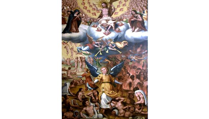 <p>Retaule de les &Agrave;nimes. <em>Taula del Judici Final</em>. Jaume Huguet II (fill), inicis del segle XVII</p>