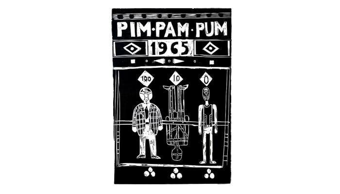 <p><em>Pim, pam, pum</em>, Albert R&agrave;fols-Casamada, 1966, grabado. Colecci&oacute;n de Estampa Popular</p>