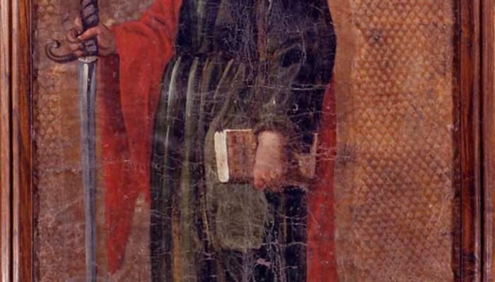<p>Image de saint Paul, XVI<sup>e</sup> si&egrave;cle, guadamacile, cuir dor&eacute;, polychrome et grav&eacute; au fer, 65 &times; 46 cm, Espagne</p>