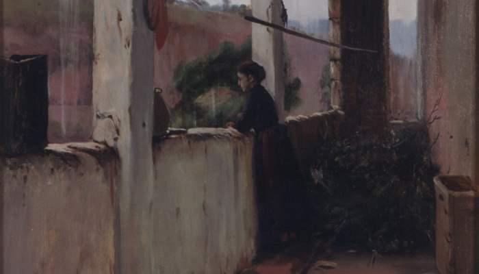 <p><em>Apr&egrave;s-midi pluvieuse</em>, &eacute;galement intitul&eacute;e&nbsp;<em>Le porche du jardin</em>, Santiago Rusi&ntilde;ol, 1889. Huile sur toile, 124&times;68,5&nbsp;cm.</p>