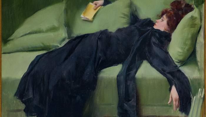 <p><em>Jeune d&eacute;cadente. Apr&egrave;s le bal</em>, Ramon Casas, 1899. Huile sur toile, 46,5 &times; 56 cm. Don de J. Sala Ardiz.</p>