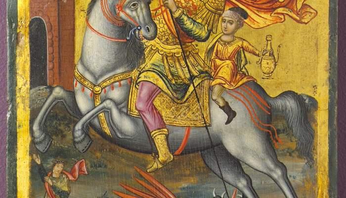 <p><em>Sant Jordi cavaller</em>, An&ograve;nim, segle XVIII. Tremp sobre taula, 24,5 &times; 18,5 cm, Gr&egrave;cia.</p>