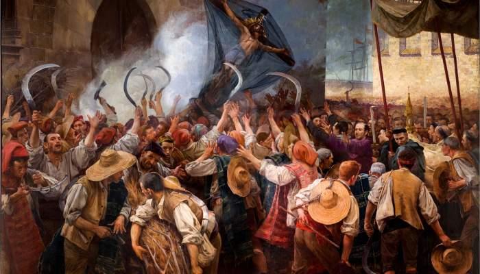<p><em>Los segadores</em>, Antoni Estruch, 1907, óleo sobre tela, 262 × 404 cm</p>