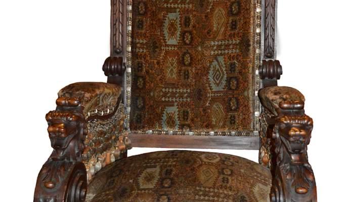 <p>Butaca de respecte, Pere Sabater i Armengol, c. 1888, fusta de xicranda i tapisseria de vellut estampat, 52 &times; 70 &times; 77 cm. MdT 15275 Foto: Museu de Terrassa</p>