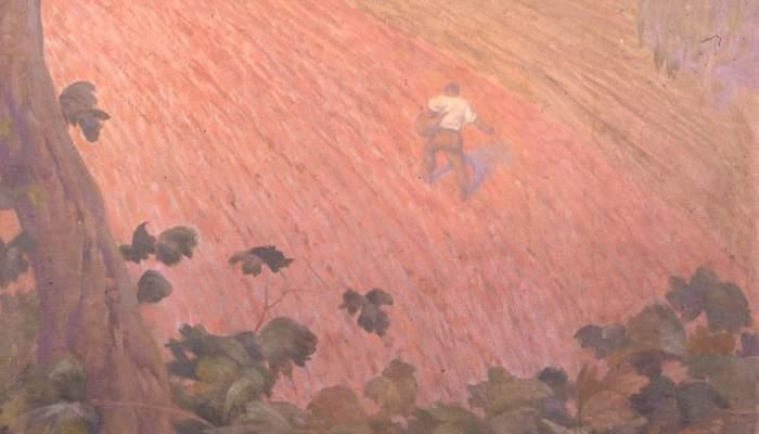 <p>Pintura a l&rsquo;oli sobre tela adherida al mur (detall), Pere Viver i Aymerich, 223 &times; 100,5 cm.</p> <p>MdT 13.063 Foto: Museu de Terrassa</p>