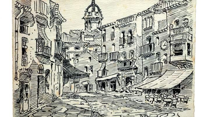 <p><em>El Raval</em>, Mateu Avellaneda Ca&ntilde;adell, 1935, dibuix a la ploma, 12,7 &times; 17,5 cm. MdT 1489 Foto: Museu de Terrassa</p>