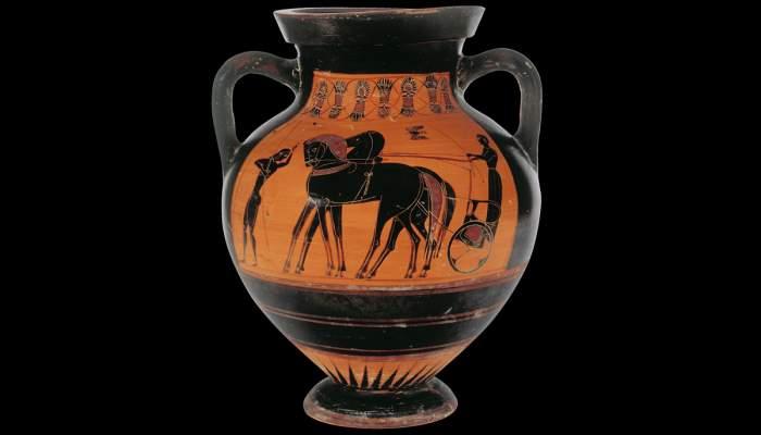 <p>&Agrave;mfora atribu&iuml;da al pintor de Saint-Audries, segle VI aC, procedent de les tombes d&rsquo;Etr&uacute;ria (It&agrave;lia)</p>