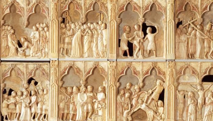 <p>Altarpiece of the passion, death, resurrection and ascent of Jesus, Bernat Saulet, 1341-1342.</p>