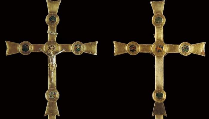 <p>Creu processional de Sant Joan de les Abadesses, segle XIV</p>