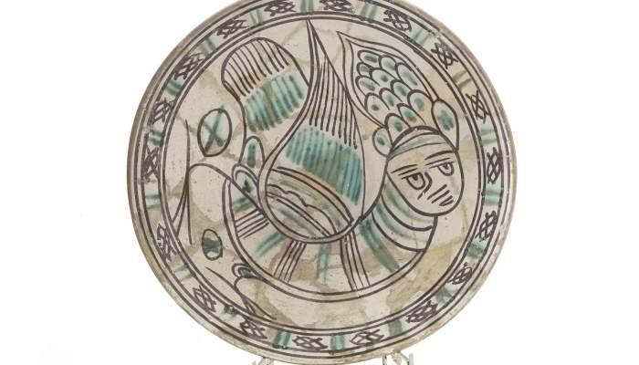<p>Servidora amb la representaci&oacute; d&rsquo;una harpia, segle XIV</p>