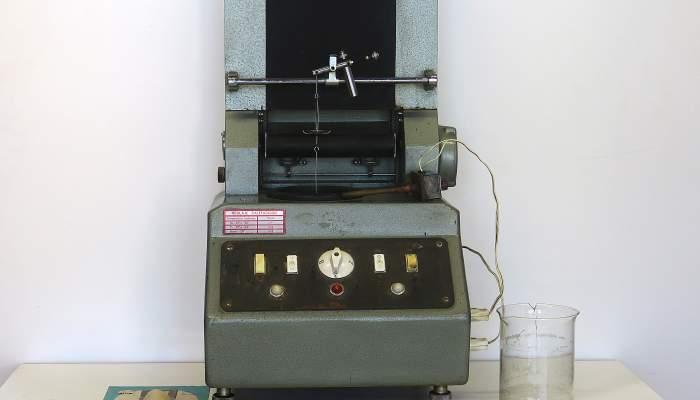 <p>Densígraf i els seus accessoris, marca FMA (Fabril Mecánica Alavesa SL). Donació del Sr. Víctor García Torres</p>