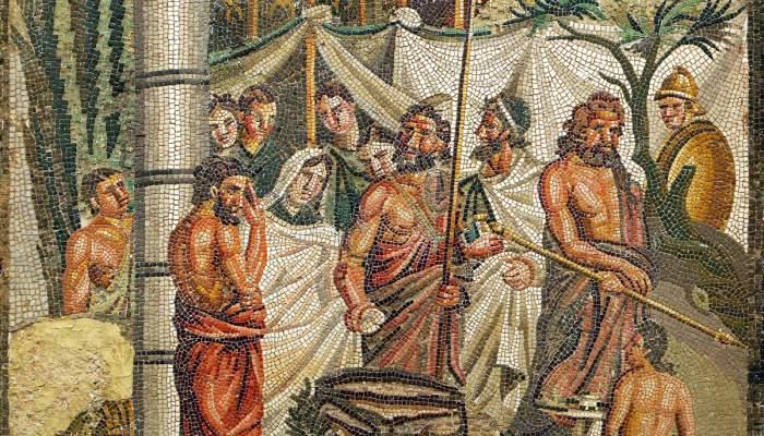 <p>Vista frontal del mosaic rom&agrave; del Sacrifici d&rsquo;Ifig&egrave;nia</p>