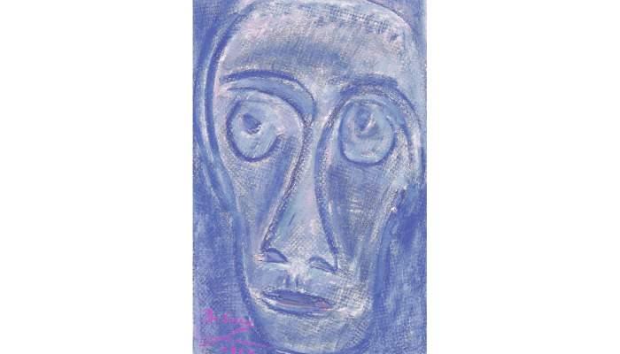 <p><em>Visage d'homme</em>, Josep Maria de Sucre i de Grau, 1962, cire sur papier, 69 &times; 43 cm</p>