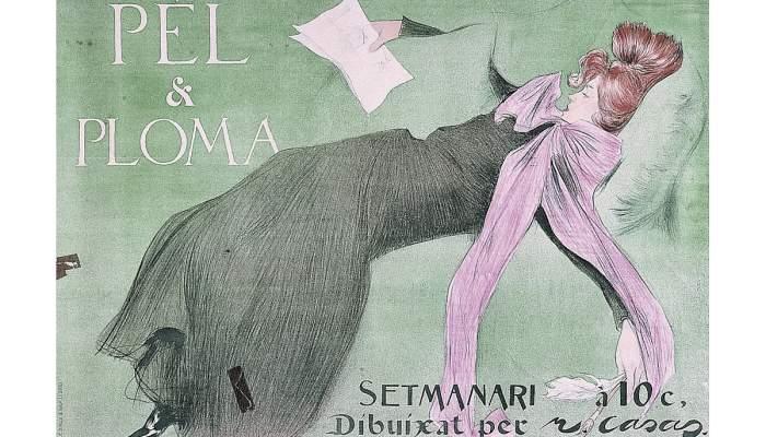 <p>Affiche de la revue <em>P&egrave;l i Ploma</em>, Ramon Casas i Carb&oacute;, 1899, chromolithographie, 62 &times; 88 cm</p>