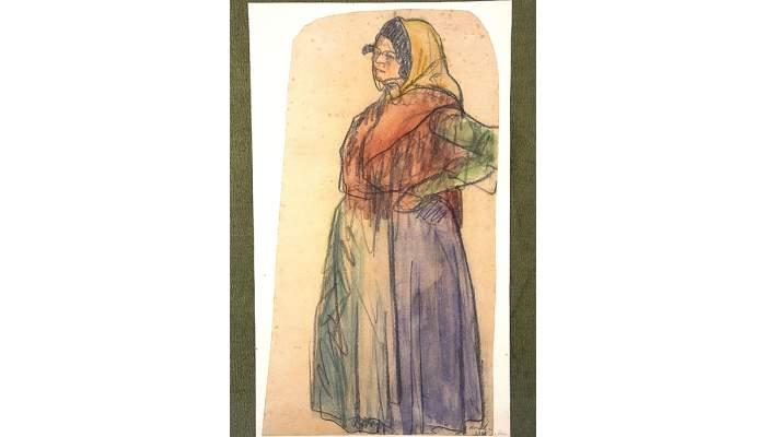 <p><em>La gitane</em>, Isidre Nonell i Monturiol, 1902, fusain et aquarelle sur papier, 49 &times; 27 cm</p>