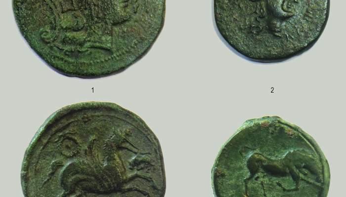 <p>Anvers i revers de dues monedes ib&egrave;riques de la seca Untikesken</p>
