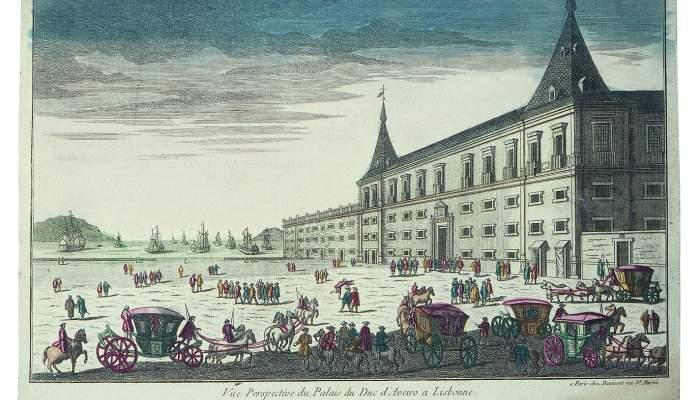 <p>Vista òptica <em>Vue du Palais du Duc d'Aveiro à Lisbonne</em>, Daumont (editor), França, <em>c.</em> 1780</p>