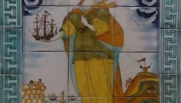<p>Ceramic panel showing santa Madrona protecting the city of Barcelona.</p>