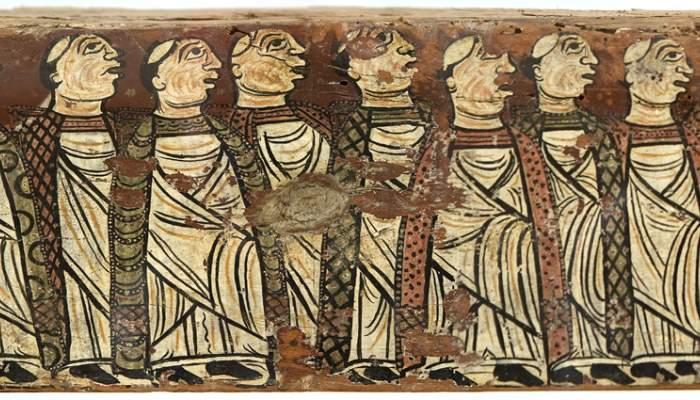 <p><em>Biga de Cru&iuml;lles</em>,&nbsp;cap a 1200. Pintura al tremp sobre fusta,&nbsp;14 &times; 371 &times; 9 cm. Monestir de Sant Miquel de Cru&iuml;lles (Baix Empord&agrave;). Museu d&#39;Art de Girona - Fons Bisbat de Girona.</p>