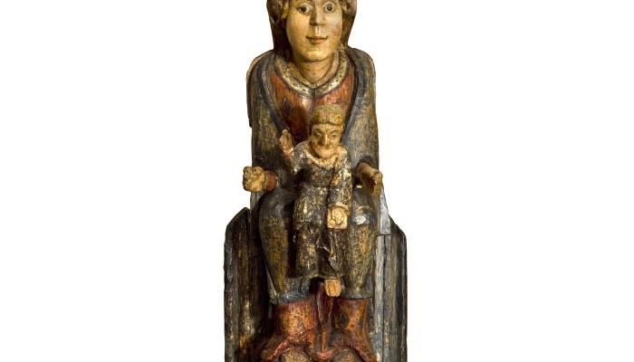 <p><em>Mareded&eacute;u de les Agulles</em>, segles XII-XIII. Talla de fusta policromada, 66 &times; 28 &times; 26 cm. Esgl&eacute;sia de Sant Feliu de Riu,&nbsp;Oix. Museu d&#39;Art de Girona - Fons Bisbat de Girona.</p>