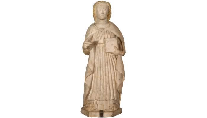 <p><em>Santa Margarida</em>, segle XV. Talla d'alabastre, 71&nbsp;&times;&nbsp;27&nbsp;&times;&nbsp;24&nbsp;cm. Santa Margarida de la Cot, Santa Pau. Museu d'Art de Girona - Fons Bisbat de Girona.</p>