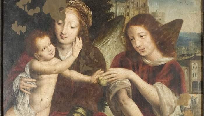 <p><em>Mare de D&eacute;u amb el Nen i un &agrave;ngel,</em> Jan (Metsys) Massys, cap a 1508-1550. Oli i Tremp sobre fusta, 74 x 45 cm. Museu d&rsquo;Art de Girona &ndash; Fons d&rsquo;Art Diputaci&oacute; de Girona.</p>