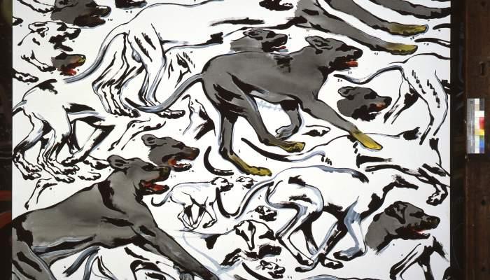 <p><em>Gossos corrent</em>, Henri Cueco, 1993, acr&iacute;lic sobre tela</p>