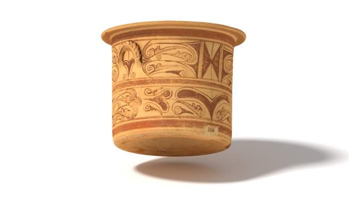 """<p class=""""normal"""" style=""""margin-bottom: .0001pt; line-height: normal;"""">Càlat de ceràmica ibèrica datat al segle III aC i procedent del sud-est de la península Ibèrica.</p>"""