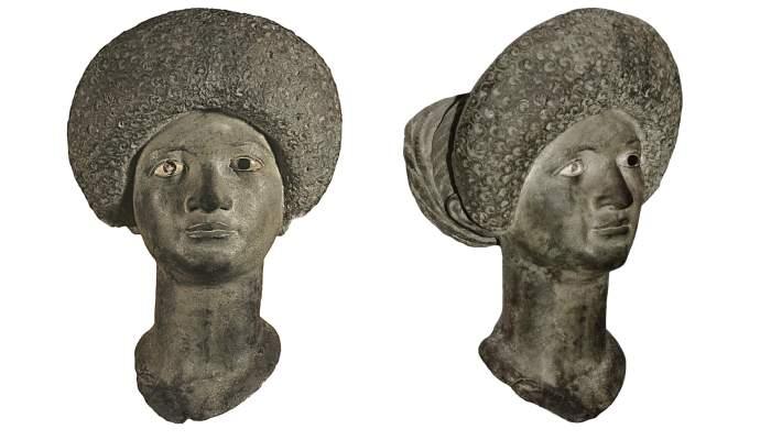 <p>Buste de bronze provenant d'Emp&uacute;ries (L'Escala). Date entre 79 et 96 ap. J.-C.</p>