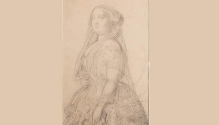 <p><em>Retrat d&rsquo;Isabel II, reina d&rsquo;Espanya</em>, Federico de Madrazo i Kuntz, <em>c</em>. 1854-1855, llapis sobre paper</p>