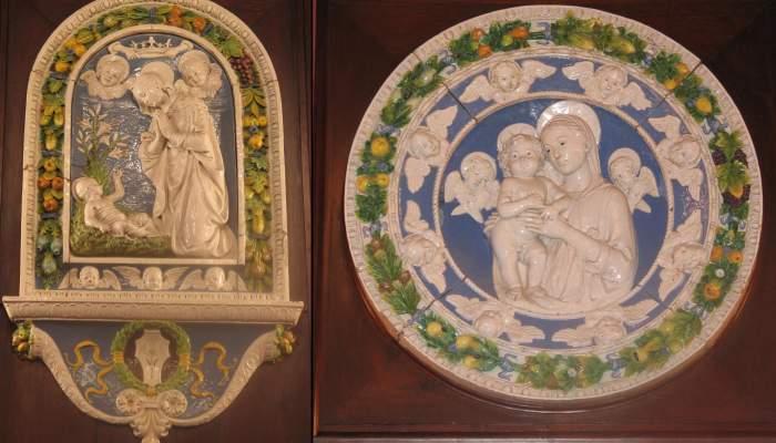<p>Virgen con el ni&ntilde;o (copia de Andrea della Robbia), 1485, terracota. National Gallery Washinton</p> <p>Natividad (copia de Andrea della Robbia), 1479, terracota. Iglesia de Verna</p>