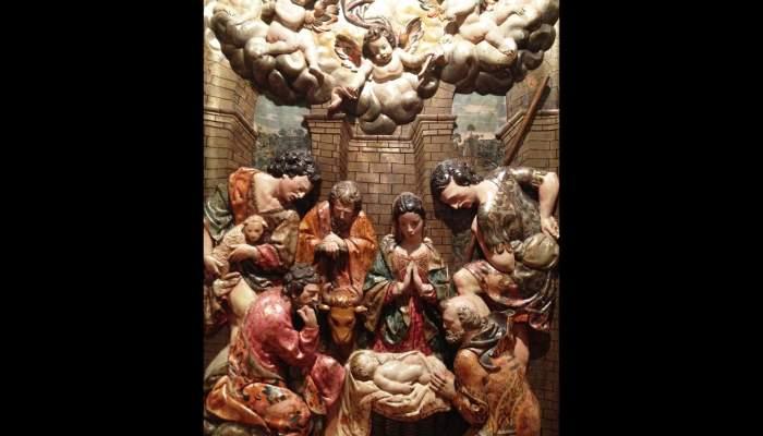 <p><em>Adoraci&oacute;n de los pastores</em>, Joan Grau (escultor), 1642, retablo de El Roser de la iglesia de Sant Pere M&agrave;rtir, convento de los Dominicos, Manresa</p>