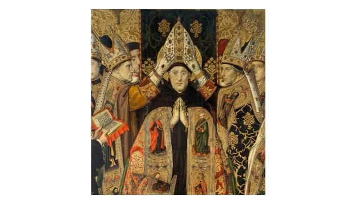 <p><em>Consecration of Saint Augustine</em>,&nbsp;Jaume Huguet, 15th century.&nbsp;Tempera, stucco reliefs and gold leaf on wood,&nbsp;250 x 193 x 9.5 cm</p>