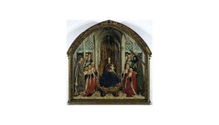 <p><em>The Virgin of the Consellers</em>,&nbsp;Llu&iacute;s Dalmau,&nbsp;15th century.&nbsp;Oil on oak wood,&nbsp;316 x 312.5 x 32.5 cm.</p>