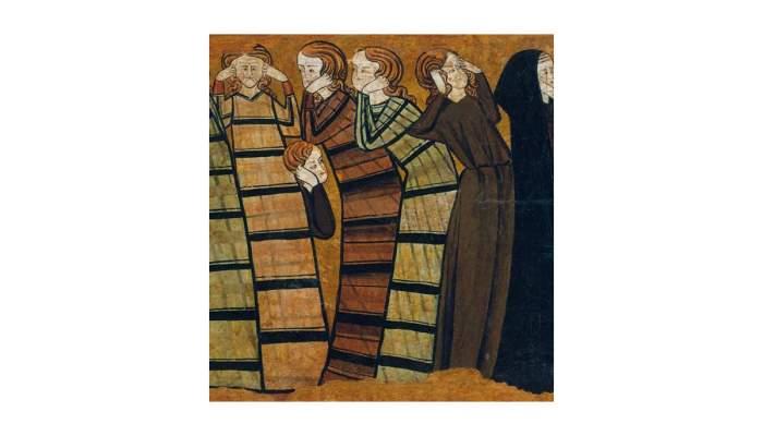 <p><em>Pleurants</em>, Anonymous Castilian, 13th century (Detail). Tempera on parchment mounted on wood,&nbsp;53 x 87.8 x4.5 cm.</p>