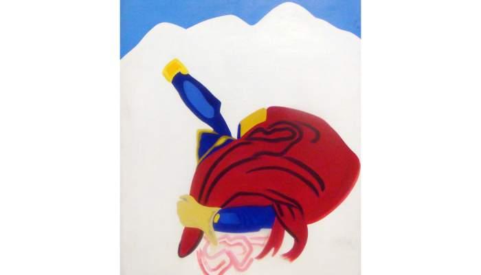 <p><em>St Bernard Tonnelet</em> [<em>El barrilet de sant Bernat</em>], Eduardo Arroyo, 1965, oli sobre tela</p>