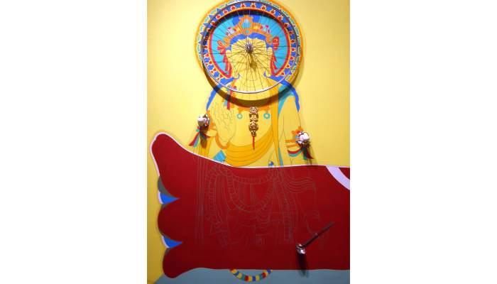 <p><em>La roue de la connaissance</em>, Bernard Rancillac,</p> <p>1985, acr&iacute;lic, contraplactat, roda de bicicleta i objectes</p>
