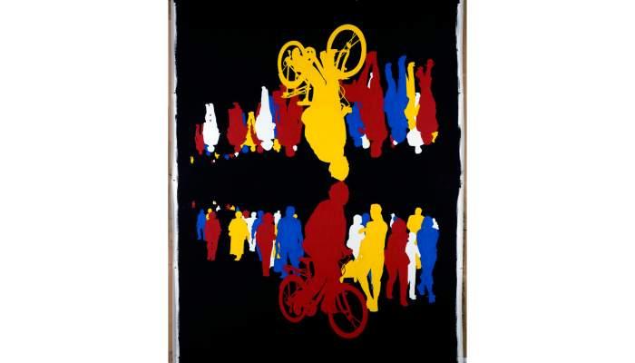 <p><em>Sens dessus dessous, tête, rouge, jaune, bleu</em>, Gérard Fromanger, 2008, acrílic sobre tela</p>