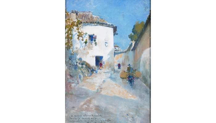 <p>Arcadi Mas i Fondevila, <em>Paisatge de Granada</em>, 1895, oli sobre taula</p>