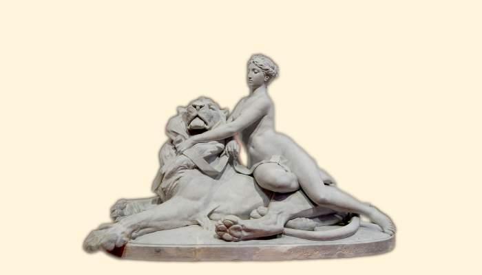 <p><em>La beaut&eacute; dominant la force</em>, Venanci Vallmitjana, 1886. Gypse, 186&times;79&times;125&nbsp;cm.</p>