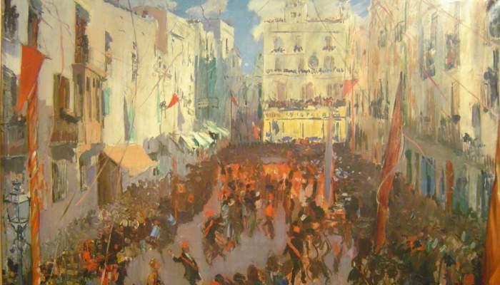 <p><em>Las comparsas de Vilanova</em>, Joaquim Mir, 1925-1926, óleo sobre tela, 149 × 201cm</p>