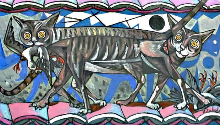 <p><em>Nocturno de los gatos</em>, Rafael Zabaleta, 1956. &Oacute;leo sobre tela, 100&times;82 cm.</p>