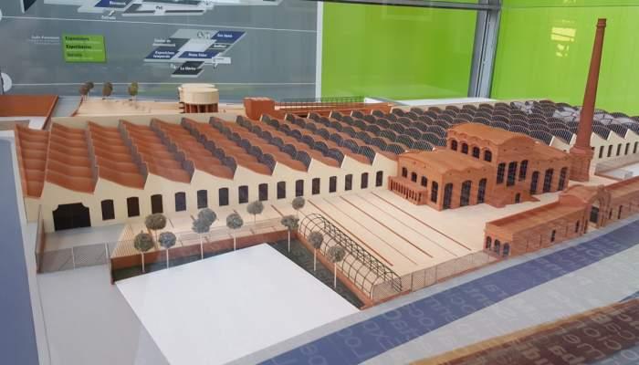 <p>Maqueta del edificio del Vapor Aymerich, Amat i Jover</p>