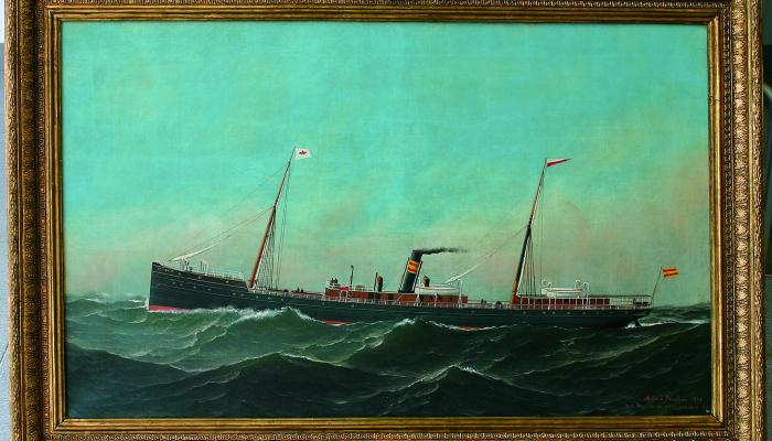 <p>Oil painting, El Cano ship, Antonio Jacobsen, 1886</p>