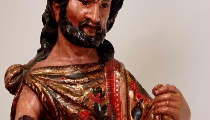 <p><em>Sant Joan Baptista</em>, Dom&egrave;nec Rovira el Major,&nbsp;cap a 1657-1678. Talla de fusta daurada i policromada, 129 x 50 x 33,5 cm. Museu d&#39;Art de Girona - Dip&ograve;sit Generalitat de Catalunya. Col&middot;lecci&oacute; Nacional d&#39;Ar