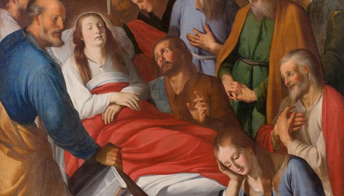 <p><em>El tr&agrave;nsit de la Mare de D&eacute;u</em>, Mateo Gilarte i Francisco Gilarte, 1651. Oli sobre tela, 227 x 145 cm. Museu d&#39;Art de Girona - Dip&ograve;sit Museo Nacional del Prado.</p>