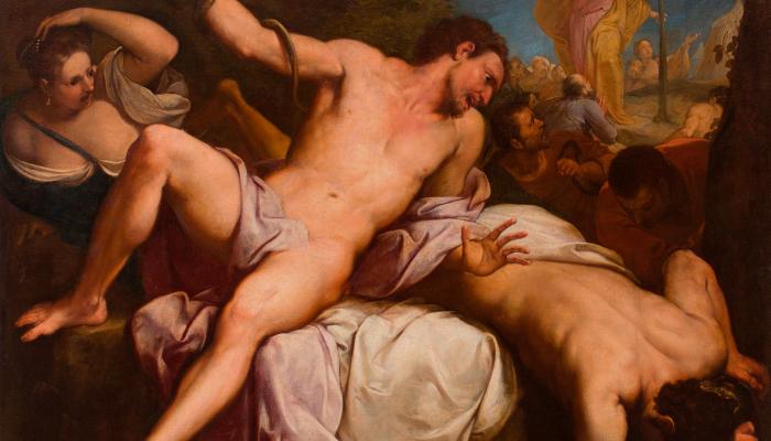 <p><em>La serp de metall</em>, Francesco Solimena (atribu&iuml;t), finals del segle XVII -&nbsp; principis del segle XVIII. Oli sobre tela, 176 x 211 cm. Museu d&#39;Art de Girona - Dip&ograve;sit Museo Nacional del Prado.</p>